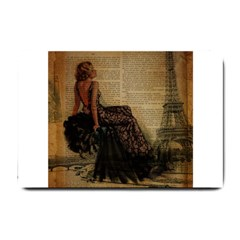 Elegant Evening Gown Lady Vintage Newspaper Print Pin Up Girl Paris Eiffel Tower Small Door Mat by chicelegantboutique