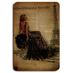 Elegant Evening Gown Lady Vintage Newspaper Print Pin Up Girl Paris Eiffel Tower Large Door Mat by chicelegantboutique