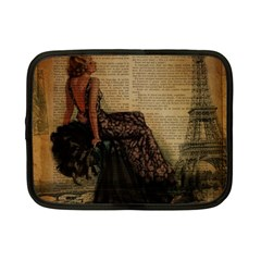 Elegant Evening Gown Lady Vintage Newspaper Print Pin Up Girl Paris Eiffel Tower Netbook Case (small) by chicelegantboutique