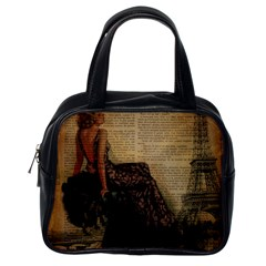 Elegant Evening Gown Lady Vintage Newspaper Print Pin Up Girl Paris Eiffel Tower Classic Handbag (one Side) by chicelegantboutique