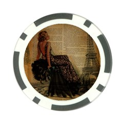Elegant Evening Gown Lady Vintage Newspaper Print Pin Up Girl Paris Eiffel Tower Poker Chip 10 Pack by chicelegantboutique