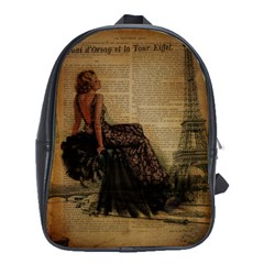 Elegant Evening Gown Lady Vintage Newspaper Print Pin Up Girl Paris Eiffel Tower School Bag (large) by chicelegantboutique