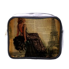 Elegant Evening Gown Lady Vintage Newspaper Print Pin Up Girl Paris Eiffel Tower Mini Travel Toiletry Bag (one Side) by chicelegantboutique