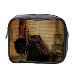 Elegant Evening Gown Lady Vintage Newspaper Print Pin Up Girl Paris Eiffel Tower Mini Travel Toiletry Bag (two Sides) by chicelegantboutique