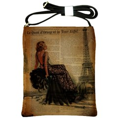 Elegant Evening Gown Lady Vintage Newspaper Print Pin Up Girl Paris Eiffel Tower Shoulder Sling Bag by chicelegantboutique