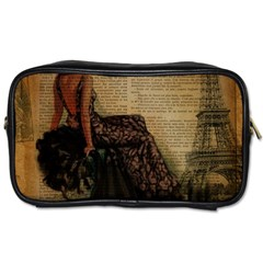 Elegant Evening Gown Lady Vintage Newspaper Print Pin Up Girl Paris Eiffel Tower Travel Toiletry Bag (one Side) by chicelegantboutique