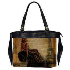 Elegant Evening Gown Lady Vintage Newspaper Print Pin Up Girl Paris Eiffel Tower Oversize Office Handbag (two Sides) by chicelegantboutique