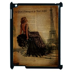 Elegant Evening Gown Lady Vintage Newspaper Print Pin Up Girl Paris Eiffel Tower Apple Ipad 2 Case (black) by chicelegantboutique