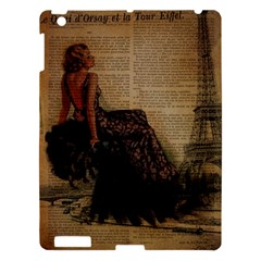Elegant Evening Gown Lady Vintage Newspaper Print Pin Up Girl Paris Eiffel Tower Apple Ipad 3/4 Hardshell Case by chicelegantboutique