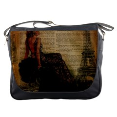 Elegant Evening Gown Lady Vintage Newspaper Print Pin Up Girl Paris Eiffel Tower Messenger Bag by chicelegantboutique