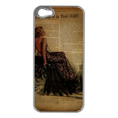 Elegant Evening Gown Lady Vintage Newspaper Print Pin Up Girl Paris Eiffel Tower Apple Iphone 5 Case (silver) by chicelegantboutique