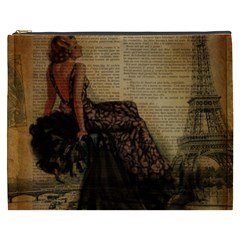 Elegant Evening Gown Lady Vintage Newspaper Print Pin Up Girl Paris Eiffel Tower Cosmetic Bag (xxxl) by chicelegantboutique