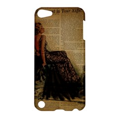 Elegant Evening Gown Lady Vintage Newspaper Print Pin Up Girl Paris Eiffel Tower Apple Ipod Touch 5 Hardshell Case by chicelegantboutique
