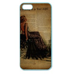 Elegant Evening Gown Lady Vintage Newspaper Print Pin Up Girl Paris Eiffel Tower Apple Seamless Iphone 5 Case (color) by chicelegantboutique