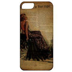 Elegant Evening Gown Lady Vintage Newspaper Print Pin Up Girl Paris Eiffel Tower Apple Iphone 5 Classic Hardshell Case by chicelegantboutique