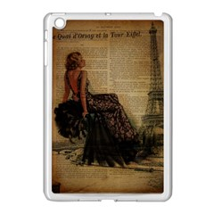 Elegant Evening Gown Lady Vintage Newspaper Print Pin Up Girl Paris Eiffel Tower Apple Ipad Mini Case (white) by chicelegantboutique