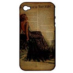 Elegant Evening Gown Lady Vintage Newspaper Print Pin Up Girl Paris Eiffel Tower Apple Iphone 4/4s Hardshell Case (pc+silicone) by chicelegantboutique