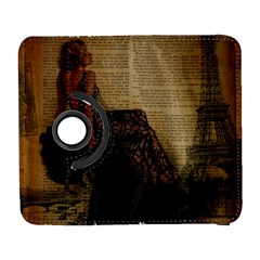 Elegant Evening Gown Lady Vintage Newspaper Print Pin Up Girl Paris Eiffel Tower Samsung Galaxy S  Iii Flip 360 Case by chicelegantboutique