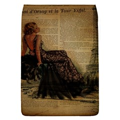 Elegant Evening Gown Lady Vintage Newspaper Print Pin Up Girl Paris Eiffel Tower Removable Flap Cover (small) by chicelegantboutique