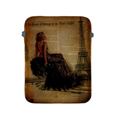 Elegant Evening Gown Lady Vintage Newspaper Print Pin Up Girl Paris Eiffel Tower Apple Ipad 2/3/4 Protective Soft Case by chicelegantboutique