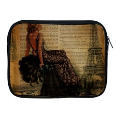 Elegant Evening Gown Lady Vintage Newspaper Print Pin Up Girl Paris Eiffel Tower Apple Ipad 2/3/4 Zipper Case by chicelegantboutique
