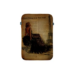Elegant Evening Gown Lady Vintage Newspaper Print Pin Up Girl Paris Eiffel Tower Apple Ipad Mini Protective Soft Case by chicelegantboutique