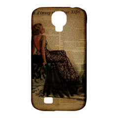Elegant Evening Gown Lady Vintage Newspaper Print Pin Up Girl Paris Eiffel Tower Samsung Galaxy S4 Classic Hardshell Case (pc+silicone) by chicelegantboutique