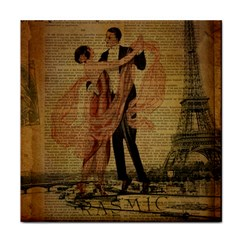Vintage Paris Eiffel Tower Elegant Dancing Waltz Dance Couple  Ceramic Tile by chicelegantboutique