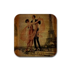 Vintage Paris Eiffel Tower Elegant Dancing Waltz Dance Couple  Drink Coaster (square) by chicelegantboutique