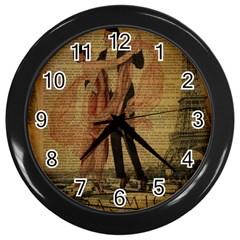 Vintage Paris Eiffel Tower Elegant Dancing Waltz Dance Couple  Wall Clock (Black) by chicelegantboutique