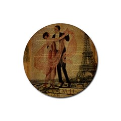 Vintage Paris Eiffel Tower Elegant Dancing Waltz Dance Couple  Drink Coaster (round) by chicelegantboutique