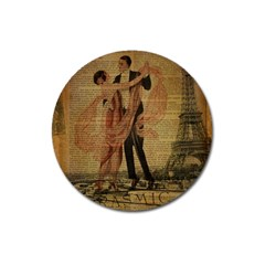 Vintage Paris Eiffel Tower Elegant Dancing Waltz Dance Couple  Magnet 3  (round) by chicelegantboutique