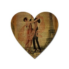 Vintage Paris Eiffel Tower Elegant Dancing Waltz Dance Couple  Magnet (heart) by chicelegantboutique