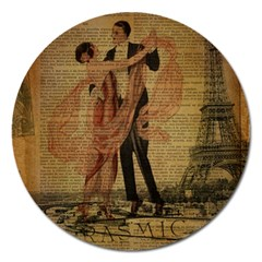 Vintage Paris Eiffel Tower Elegant Dancing Waltz Dance Couple  Magnet 5  (round) by chicelegantboutique