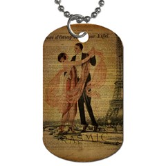 Vintage Paris Eiffel Tower Elegant Dancing Waltz Dance Couple  Dog Tag (two Sided)  by chicelegantboutique