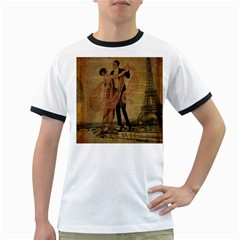 Vintage Paris Eiffel Tower Elegant Dancing Waltz Dance Couple  Mens' Ringer T Shirt by chicelegantboutique