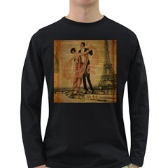 Vintage Paris Eiffel Tower Elegant Dancing Waltz Dance Couple  Mens' Long Sleeve T Shirt (dark Colored) by chicelegantboutique
