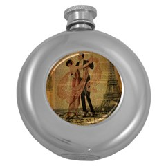 Vintage Paris Eiffel Tower Elegant Dancing Waltz Dance Couple  Hip Flask (round)