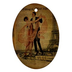 Vintage Paris Eiffel Tower Elegant Dancing Waltz Dance Couple  Oval Ornament (two Sides) by chicelegantboutique