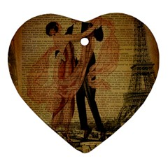 Vintage Paris Eiffel Tower Elegant Dancing Waltz Dance Couple  Heart Ornament (two Sides) by chicelegantboutique