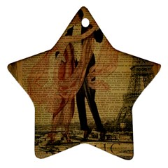 Vintage Paris Eiffel Tower Elegant Dancing Waltz Dance Couple  Star Ornament (two Sides) by chicelegantboutique