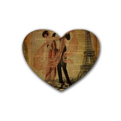 Vintage Paris Eiffel Tower Elegant Dancing Waltz Dance Couple  Drink Coasters (heart) by chicelegantboutique