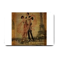 Vintage Paris Eiffel Tower Elegant Dancing Waltz Dance Couple  Small Door Mat by chicelegantboutique