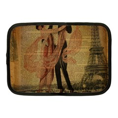 Vintage Paris Eiffel Tower Elegant Dancing Waltz Dance Couple  Netbook Case (medium) by chicelegantboutique