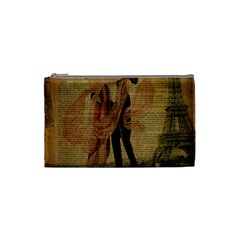 Vintage Paris Eiffel Tower Elegant Dancing Waltz Dance Couple  Cosmetic Bag (small) by chicelegantboutique