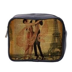 Vintage Paris Eiffel Tower Elegant Dancing Waltz Dance Couple  Mini Travel Toiletry Bag (two Sides) by chicelegantboutique