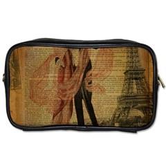 Vintage Paris Eiffel Tower Elegant Dancing Waltz Dance Couple  Travel Toiletry Bag (two Sides) by chicelegantboutique