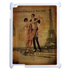 Vintage Paris Eiffel Tower Elegant Dancing Waltz Dance Couple  Apple Ipad 2 Case (white) by chicelegantboutique