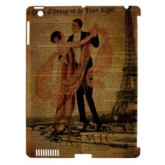 Vintage Paris Eiffel Tower Elegant Dancing Waltz Dance Couple  Apple Ipad 3/4 Hardshell Case (compatible With Smart Cover) by chicelegantboutique