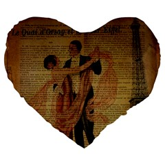 Vintage Paris Eiffel Tower Elegant Dancing Waltz Dance Couple  19  Premium Heart Shape Cushion by chicelegantboutique